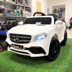 Детский электромобиль Mercedes Style 12V - HL-1558 белый (колеса резина, сиденье кожа, пульт, музыка)